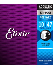 Elixir polyweb long life acoustic strings 10's