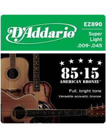 D'Addario 85/15 American Bronze Acoustic 9's Super Light