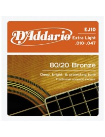 D'Addario 80/20 Bronze Acoustic 10's Extra Light