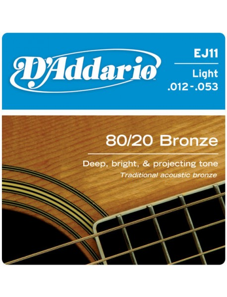 D'Addario EJ 11 80/20 Bronze Acoustic 12's Light