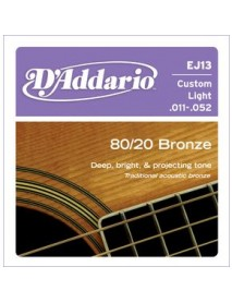 D'Addario 80/20 Bronze Acoustic 11's Custom Light
