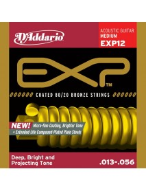 D'Addario EXP Extended Play Coated Bronze Acoustic 13's Medium